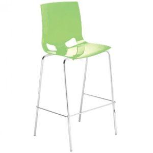 Стул барный, каркас хромированный, сиденье пластиковое, цвет глянцевый зеленый лайм
