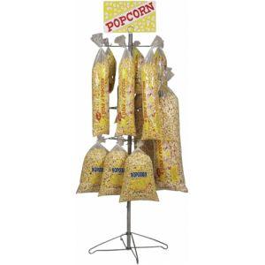 Стойка-витрина напольная для пакетов с попкорном, 610х610х1829мм, 3 яруса, 48 пакетов, вывеска Popcorn