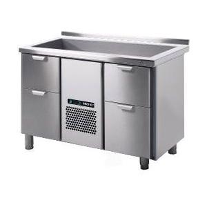 Стол холодильный, GN1/1, L1.26м, борт H40мм, 4 выд.секц., ножки, +2/+15С, нерж.сталь, дин.охл., агрегат центр., R290, ванна охл., уд.ст.назад (800)