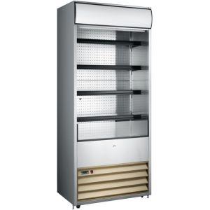 Стеллаж холодильный, пристенный, L0.76м, 4 полки, +2/+10С, дин.охл., нерж.сталь, фронт открытый, боковины глухие, ночная шторка, колеса, канапе (Уценё