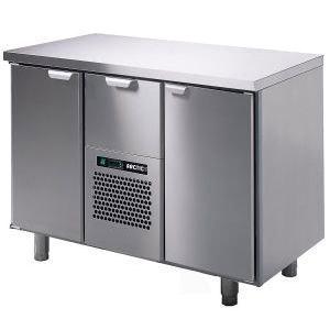 Стол холодильный, GN1/1, L1.26м, без борта, 2 двери глухие+1 выд.секц., ножки, +2/+15С, нерж.сталь, дин.охл., агрегат центр. (б/у (бывший в употреблен