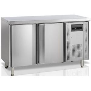 Стол холодильный, L1.36м, без борта, 2 двери глухие, ножки, -2/+10С, нерж.304, дин.охл., агрегат справа, R600a