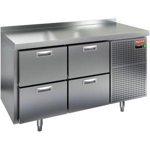 Стол холодильный, GN2/3, L1.39м, борт H50мм, 4 ящика, ножки, -2/+10С, нерж.сталь, дин.охл., агрегат справа (Уценённое)