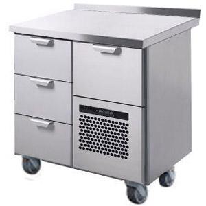 Стол холодильный, GN1/1, L0.86м, борт H40мм, 4 выд.секц., ролики, +2/+15С, нерж.сталь, дин.охл., агрегат справа, уд.ст.назад (800), короб-вст., доп.оп