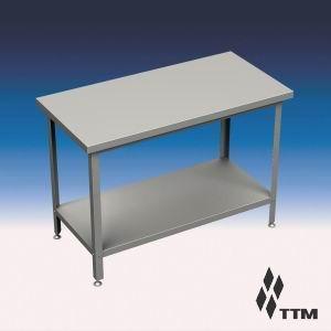 СР-070/7П - стол рабочий, ножки оцинк. сталь, спл. полка (б/у (бывший в употреблении))