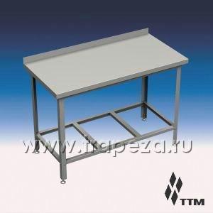 СРН1-120/6 - стол рабочий, ножки нерж. сталь, 1 борт, реш. полка