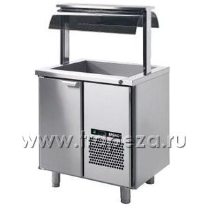 Стол холодильный, GN1/1, L0.86м, без борта, 1 дверь глухая, ножки, +2/+15С, нерж.сталь, дин.охл., агрегат справа, R290, ванна охл., верх.уровень, напр
